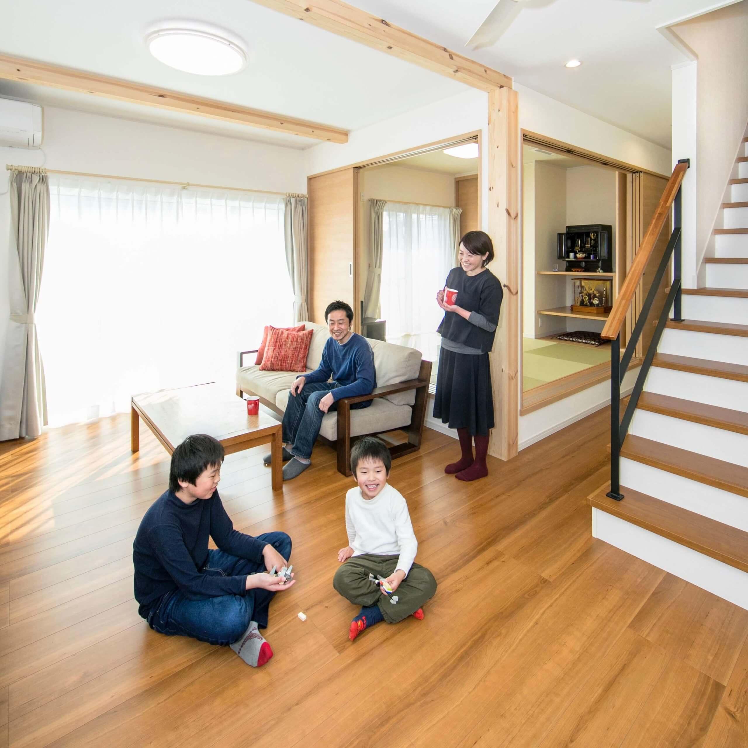 宇都宮市の注文住宅事例 リビングと家族